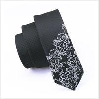schwarze skinny krawatte männer kleid großhandel-2017 Fashion Slim Krawatte Schwarz mit Silber Skinny Schmale Gravata Silk Krawatten Für Männer 5,5 cm Breite Brautkleid E-204