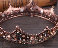 volle runde kronen großhandel-Barockköniginkrone der europäischen Retro- Palastgroßhandelskrone des runden Kronenstirnbandes vollen Kronenhaarzusatz