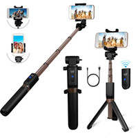 Wholesale iphone monopods - Bluetooth Extendable Selfie Stick with Wireless Remote Shutter Monopods Tripod Stand for iPhone Huawei Xiaomi Phone Smartphones