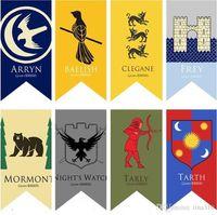 ingrosso bandiere diy-18 Stili 75 * 125 cm Game of Thrones Flags Decorazione del giardino Bandiera FAI DA TE Decorativo Appeso Casa Banner Bandiere T3I0228