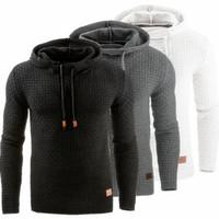 Wholesale grey hooded sweatshirt - 2018 Casual Hoodies Brand Men Solid Color Hooded Sweatshirt Male Hoody Hip Hop Autumn Winter Hoodie Mens Pullover Plus Size S-4XL