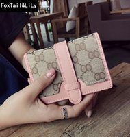 Wholesale selling photo cards for sale - Group buy Factory direct selling women bag classic printed canvas short wallet walkthrough color leather handbag wallet multifunctional fashion letter