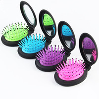 oval biçimli aynalar toptan satış-10 Adet Yeni Kızlar Taşınabilir Mini Katlanır Tarak Ile Hava Yastığı Masaj Yuvarlak Seyahat Saç fırçası Ayna Sevimli oval şekil