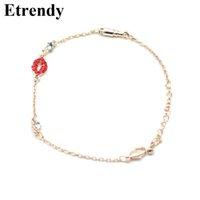 Wholesale rhinestone lips charms - Rhinestone Red Lips Charm Bracelets For Women Bijoux New Fashion Jewelry Cute Gifts Thin Bracelet
