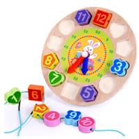 ingrosso orologio digitale geometrico in legno-Legno Digital Geometry Clock Blocchi di legno Giocattoli per bambini Giocattoli educativi Brinquedos Menino Giocattoli in legno per Baby Boy Girl