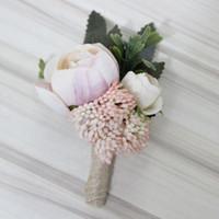 blumenstrauß boutonniere großhandel-Dekorationen Künstliche Trockenblumen 1 Stück Knopfloch Boutonniere Bräutigam Groomsman Trauzeuge Künstliche Blumen Hochzeit Bouquet Zubehör