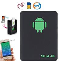 oxigênio eletrônico venda por atacado-Mini A8 Car Rastreador GPS Global Real Time 4 Freqüência GSM / GPRS Segurança Dispositivo de Rastreamento de Auto Suporte Android Para Crianças Veículo Pet