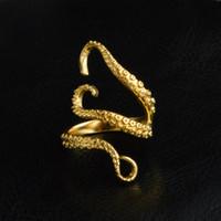 polvo de ouro venda por atacado-Nova moda titanium aço octopus banda anéis unisex prata de ouro aberto ajustável devilfish anéis de dedo jóias