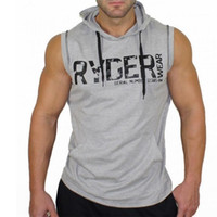 Wholesale Hooded Singlets - Brand Clothing Bodybuilding stringer tank top hoodies for men Fitness hooded sleeveless shirt cotton singlet regatas masculino