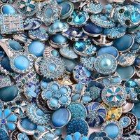 boutons bleus mélangés achat en gros de-50pcs / lot Blue Series Styles Mixtes Métal Bouton Charmes 18mm Snap Button pour 20mm Snap Bracelet Snap Jewelry # S