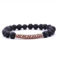 perlen rosa armband großhandel-2018 neue Micro Pave CZ Kubikzircon Perlen Bettelarmband Armreifen Rose Gold Bend Armband Energie Yoga Perlen Armband