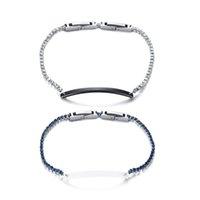 браслеты из керамики из циркония оптовых-Bling цирконий браслеты для женщин из нержавеющей стали керамические браслеты звено цепи запястья Femme pulseira 7,48