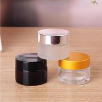 gold silber töpfe großhandel-5g / 5ml 10g / 10ml Kosmetik Leeres Glas Pot Lidschatten Make-up Gesichtscreme Container Flasche mit schwarz Silber Gold Deckel und Innenkissen 0131