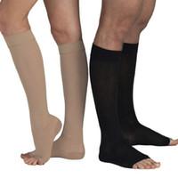 ingrosso aprire i calzini di moda della punta-New Fashion Uomo Donna Calze Caldi Solid Knee alta Open Toe Unisex calze a compressione