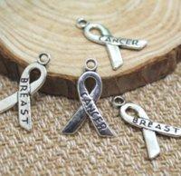 ingrosso fascino del seno-25pcs / lot Breast Cancer Charms Ribbon Consapevolezza, pendente di fascino del cancro al seno 23x16mm