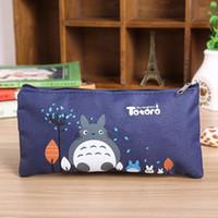 sacos da composição dos miúdos venda por atacado-Sacos de lápis de Lona Dos Desenhos Animados do estudante Miyazaki Totoro Zipper estojos de Cosméticos Pequena Maquiagem Tool Bag crianças coin bag 19 * 9.5 CM