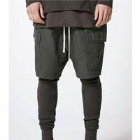 Wholesale combat cargo shorts - Fear Of God Shorts 2018 New High Quality Fear Of God Cargo Shorts Justin Bieber Streetwear Combat Trousers