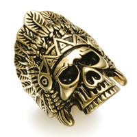 hintli erkekler yüzük toptan satış-Tüy Taç Hintliler Şef İskelet Kafatası Erkek Yüzük Punk Gotik Altın Gümüş Titanyum Paslanmaz Çelik Yüzükler Erkekler Takı Için