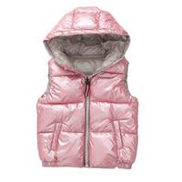chalecos con capucha para niños al por mayor-Chaleco infantil Niños Abrigos Abrigos de invierno Ropa para niños Cálido algodón encapuchado Niños bebés Chaleco de las muchachas para la edad 3-10 años Y18102508