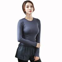 tops kız gömlek tasarımı toptan satış-Bayanlar Ince Yoga Üstleri Spor Üst Spor Kız Yoga Gömlek Spor Giyim Koşu Giyim Nefes T Shirt Bandaj Tasarım