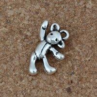 silber halskette tragen charme großhandel-Bär Charms Anhänger 100 Teile / los 10,5x19,5mm Antike Silber Modeschmuck DIY Fit Armbänder Halskette Ohrringe