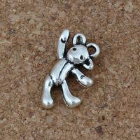 colgante de oso antiguo al por mayor-Oso Encantos Colgantes 100 Unids / lote 10.5 x19.5mm Joyería de Moda de Plata Antigua DIY Fit Pulseras Collar Pendientes