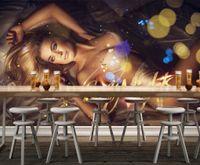 ingrosso murales sexy-Personalizzato 3d murales carta da parati 3d foto carta da parati murales Sexy Beauty Hotel Night Club KTV parete pittura decorativa Intrattenimento sfondo