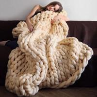 wolldecke stoff großhandel-Stricken Decke Kunst warme klobige Wolle Weben Solide Farben Sofa Decken Fotografie Requisiten gute Qualität neue 58 5dz ii