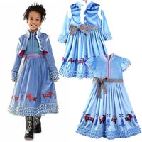 Wholesale anime cosplay gowns - girl princess dress cartoon anime cosplay cotton blue dress for 4-9years girls kids children skirt European style dress