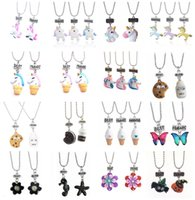 Wholesale Owls For Necklaces - Best Friends Duds Jewelry sets - Lovely 32 Designs Kids Resin Cartoon Necklaces Owl Unicorn Pendants Chokers for Boys Girls