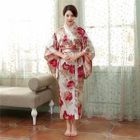 ingrosso giapponesi accappatoi donne-New Flower Japanese National femminile Kimono Gown Accappatoio in raso tradizionale Yukata femminile con Obi Performance Dance Clothing