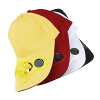 Wholesale fan energy saving - Solar Powered baseball cap Fan Hat Men Women Summer Caps with Solar Sun Power Cool Fan Energy save No batteries Beach Hats &2