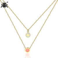 Wholesale women layered necklaces for sale - Group buy RIR Double Layered Multilayer Necklace Cute Pink Bijoux Charm Round Crystal Statement Necklace Women