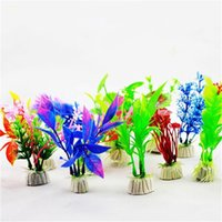 künstliche pflanzen für fischtanks großhandel-10 cm Über Unterwasser Künstliche Pflanzen Gras Für Aquarium Landschaft Decor Mini Simulation Blumen Neue 0 3sy Z