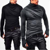 ärmel für handschuhe großhandel-Art- und Weisekorean-beiläufiges Haufen-Kragen-lange Hülsen-Hemd-Mann-Hemd-Handschuh-Hülsen-dünne Sitz-T-Shirt-lange Abschnitt-Strickjacke neue Entwurfsmannkleidung