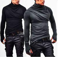 mangas para guantes al por mayor-Moda coreana Casual Heap Collar manga larga camisa de los hombres camisa guante mangas Slim Fit camiseta larga sección suéter nuevo diseño hombre ropa
