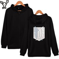 Wholesale winter coats japan - SMZY Aack On Titans Hoodies Men Zipper Japan Popular Anime Mikasa Casual Coat Winter Hooded Sweatshirt Men Zipper 4XL Clothes