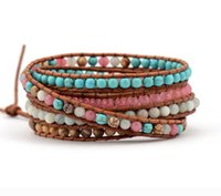 bracelets enveloppants en cuir perlé multicouche achat en gros de-Haut de gamme mélange de pierres naturelles 5 couches de bracelets en cuir Wrap tissage multicouche Bracelet Bracelet Dropship à la main