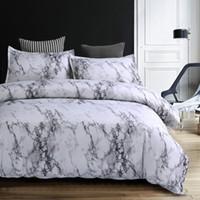 edredones modernos al por mayor-Ropa de cama Wongs Modern Marble Impreso Juego de cama Gris Funda nórdica Juego Cama Edredón Funda de almohada 3 unids