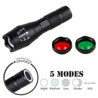 Wholesale Zoomable Focus Flashlight - 3800 Lumen Flashlight Cree XML T6 White Green Red Zoomable Focus LED Light 5 Modes Tactical Flashlight for Hunting