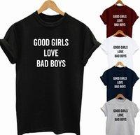 bons hauts pour les filles achat en gros de-DE BONNES FILLES AMOUR BAD GARÇONS T-SHIRT HOMME FUNNY SLOGAN FÊTE IDÉE CADEAU