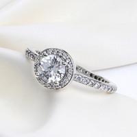 kadınlar için sevimli mücevher toptan satış-Orijinal kutusu ile romantik sevimli HALKA Pandora Charms Takı için CZ Elmas 925 Ayar Gümüş Yüzük Kadınlar Düğün Hediyesi Parmak yüzük