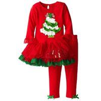 Wholesale tutu dresses for sale - Red Baby Girls Christmas Dress Clothing Sets X mas Girl Piece Clothes Suit Children Tutu Dresses Trouser Kids Outfits Jumper Blouse