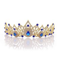 vestido de novia rhinestone lleno al por mayor-Nupcial Rhinestone lleno Corona de cristal Accesorios de boda caliente europeos y americanos Vestido Tiaras Joyería del pelo Envío de la gota H1137
