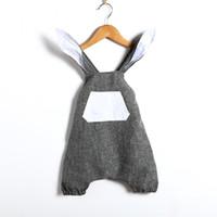 bebek küpe elbisesi toptan satış-Bebek Giyim Için Paskalya Bunny Bodysuit Oğlan Kız 2018 Yaz erkek Bebek Kız 3D Tavşan Kulak Romper Tulum Kız Elbise Kıyafet Çocuk Giysileri