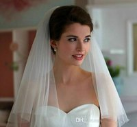 Wholesale tulle bridal rhinestone - Simple Two Layers Wedding Veil with Comb Total 1.5M Short Tulle Bridal Veils 2017 Hot Selling Bridal Accessories