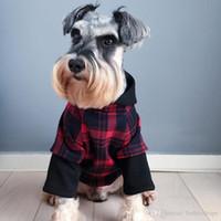 welpen pullover hut großhandel-Hund Fleece Hoodies mit Hut für Halloween Kleidung Teddy Puppy Bekleidung Herbst warme Outwears schwarz rot Pullover Kleidung