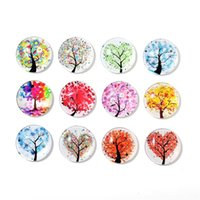 Wholesale Glass Tree Decorations - 30MM Life Tree Fridge Magnet Creative Round Glass Refrigerator Sticker Notes Message Holder Home Decoration Many Styles 15nx C