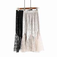 spitze tüll schwarzer rock großhandel-Röcke lang für Frauen Damen pleuche  Spitze Frühling Herbst Korea f46d2a85ae