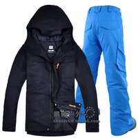 calças de esqui para homem venda por atacado-GSOU NEVE com capuz Men Ski Suit Snowboard Vestuário calças à prova de vento impermeável Sport Outdoor Wear Suit Super Quente Inverno Engrosse
